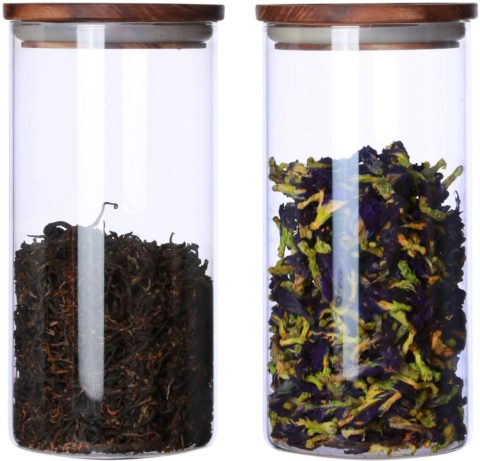 Clear Glass Canister Jar Container Set