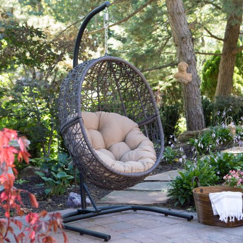Resin Wicker Espresso Hanging Egg Chair