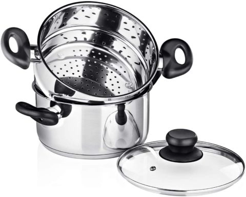 Chef's Star 3 Piece Stainless Steel Stack and Steam Pot Set