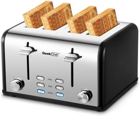 Geek Chef Stainless Steel Extra-Wide Slot Toaster