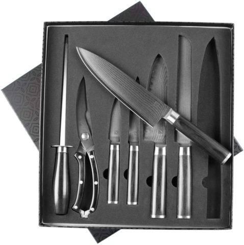 Zelancio Cutlery Premium 7 Piece Japanese Steel Professional Chef Knife Set with High Carbon Core and 67 Layer VG-10 Damascus Steel, Razor Sharp Chef Quality with Wooden Handle, Stainless Steel