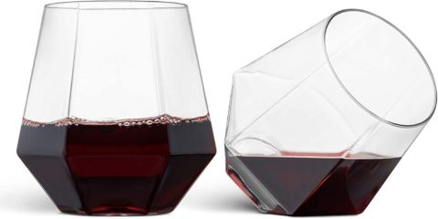 32 Pack Diamond Shaped Plastic Stemless Wine Glasses Disposable 12 Oz Clear Plastic Wine Whiskey Cups Shatterproof Recyclable and BPA-Free
