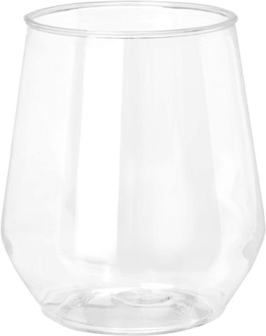 32 count 12 oz Unbreakable Stemless Plastic Wine Champagne Glasses Elegant Durable Reusable Shatterproof Indoor Outdoor Ideal for Home, Office, Bars, Wedding, Bridal Baby Shower