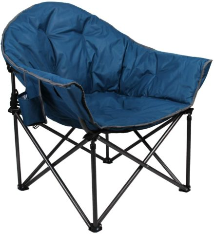 ALPHA CAMP Oversized Camping Chairs Padded Moon Round Chair Saucer Recliner with Folding Cup Holder and Carry Bag