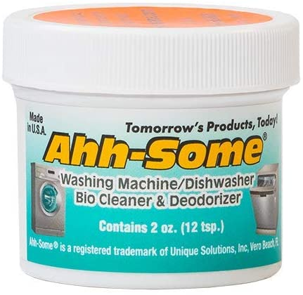 Ahh-Some - Washing Machine Bio Cleaner & Dishwasher Cleaner -Works For All Washer Top & Front Loaders Front Removes Odor, Residue, Mold, Mildew 2 oz.
