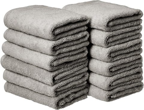 Amazon Basics Cotton Hand Towels, Gray - Pack of 12