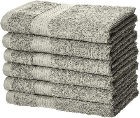 Amazon Basics Fade-Resistant Cotton Hand Towel - Pack of 6, Grey