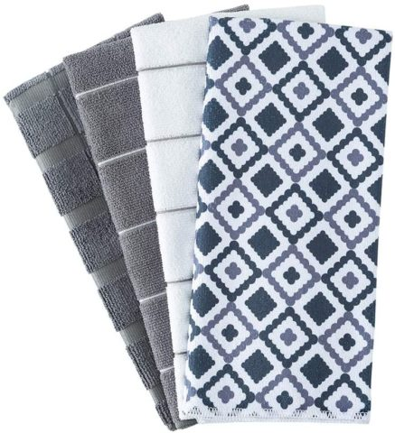 Figolo Microfiber Kitchen Towels - Dish Towel Geometry Set of 4, Super Absorbent and Soft, 26 X 18 Inch