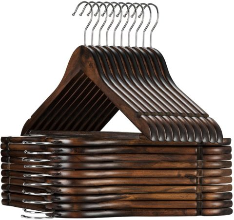 High-Grade Wooden Suit Hangers 20 Pack with Non Slip Pants Bar
