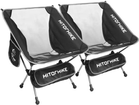Hitorhike Camping Chair Breathable Mesh Construction 2 Side Pockets Aluminum Frame Camp Chair with Carry Bag Compact and Lightweight Folding Chair for Backpacking and Camping (Black Two Pcs)