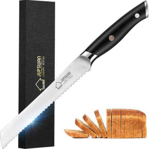 Jupswan Serrated Bread Knife Ultra-Sharp Stainless Steel Professional Grade Bread Cutter - Cuts Homemade Bread Thick Loaves Effortlessly