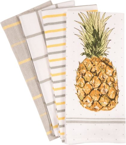 KAF Home Pantry Pineapple Kitchen Dish Towel Set of 4, 100-Percent Cotton, 18 x 28-inch