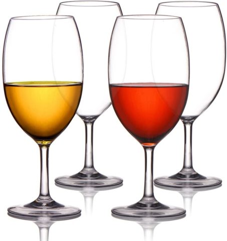 MICHLEY Unbreakable Wine Glasses, 100% Tritan Plastic Shatterproof Large Wine Glasses 20 oz, Set of 4