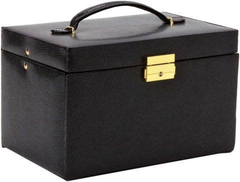 Paylak TS382BLK Genuine Black Leather Large Jewelry Box with Travel Case Tech Swiss
