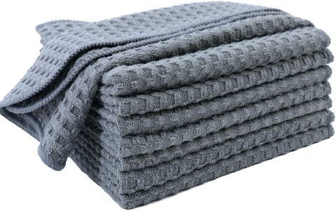 Polyte Ultra Premium Microfiber Kitchen Dish Cloth Waffle Weave, 8 Pack (12x12 in, Gray)