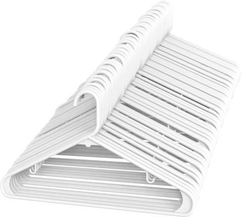 Sharpty Plastic Hangers Clothing Hangers Ideal for Everyday Standard Use (White, 60 Pack)