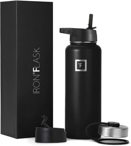 Iron Flask Sports Water Bottle - 40 Oz, 3 Lids (Straw Lid),Vacuum Insulated Stainless Steel, Modern Double Walled, Simple Thermo Mug, Hydro Metal Canteen
