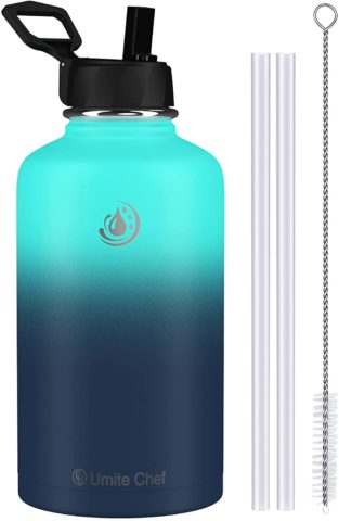 Umite Chef Water Bottle, Vacuum Insulated Wide Mouth Stainless-Steel Sports 18-64OZ Water Bottle with New Wide Handle Straw Lid,Hot Cold, Double Walled Thermo Mug